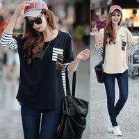 Fashion 2013 Women's Batwing Top Dolman Lace Loose Long Sleeve T-Shirt Blouse for Women Plus Size S M L XL , Free Shipping
