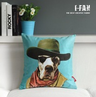 Wholesale!Free shipping 1 PCS Vintage Home Green Pillow cover Dog Plush cushion cover 45CMx45CM