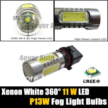 Free Shipping 2pcs/lot P13W LED High Power Xenon White Daytime Fog Light 11W Bulbs for Chevy Camaro RS, Skoda Yeti, Audi A4 8K 2