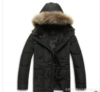 2013 Thick winter fur collar down jacket and long down jacket coat for Men  M-XXXL Free shipping