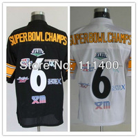 cheap Old Brand #6 Superbowl Champs Black(Yellow Number) Football Jerseys Name Number All Stitched (sewn on) Size:48-56