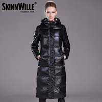 2013 fashion black with a hood thickening slim medium-long white duck down coat female