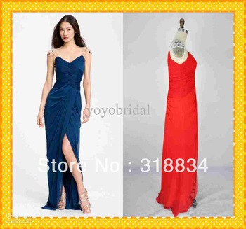 2014 - Formal Sexy Gown Cap Sleeves Pleated Beaded Sequins Crystal Real Sample High Quality Red Prom Dresses