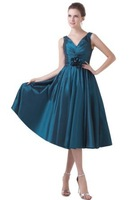 Bonnobridal Attractive V-Neck Tee-Length Pleated Formal Cocktail Dress with Flower in Waist