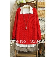 2013 women fashion sweater dress candy color long elastic cotton blend rib sleeve o-neck all-match autumn knitted dress