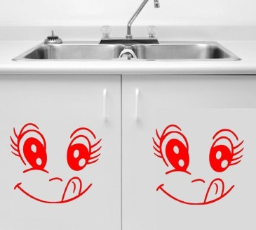 iShow K8 Wall stickers cartoon kitchen cabinets furniture decoration wall stickers waterproof wall stickers smiley a pair(China (Mainland))