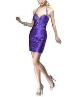 Bonnobridal Sexy Beaded Halter Taffeta Cocktail Dress/Prom Dress/Party Dress