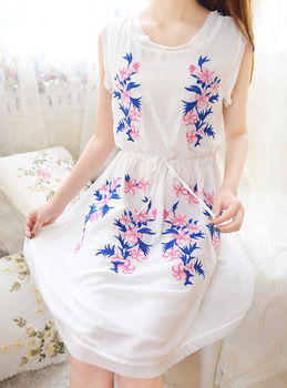 Foreverkid summer fresh embroidery flower national trend drawstring one-piece dress  free ship
