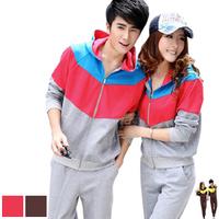 2012 lovers autumn color block stripe with a hood sweatshirt casual sportswear set
