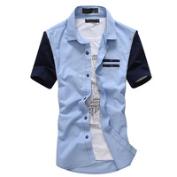 2013 summer fashion male short-sleeve shirt men's clothing slim casual plaid shirt