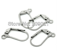 100pcs Silver Tone Stainless Steel Earrings Wire Findings 18mmx10mm