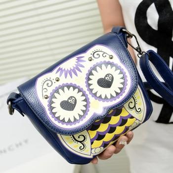 2013 bags cartoon owl print women's handbag messenger bag small women's handbag