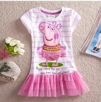 New Arrival Girls' Nova Cartoon Tutu For Kids  Summer Wear Baby Stripe Dresses Casual Peppa Pig Childrens Princess Lace Clothing