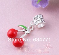 50 Pcs Silver Plated Enamel Fresh Cherry Charm Beads Fit Charm Bracelet  (k063)