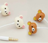 With RETAIL BOX PACKGING Kpop Cute cartoon animal Rilakkuma headphone for cell phone/kawaii Anime earphone Free Shipping