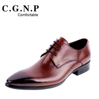 C . g . n . p male pointed toe leather fashion business formal men trend genuine leather breathable shoes