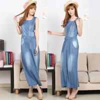 2013 summer-autumn saias casual dress slim waist sleeveless jeans viscose denim full dress long design one-piece dress female