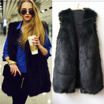 2013 vest V-neck sleeveless faux vest fox fur long waistcoat design vest