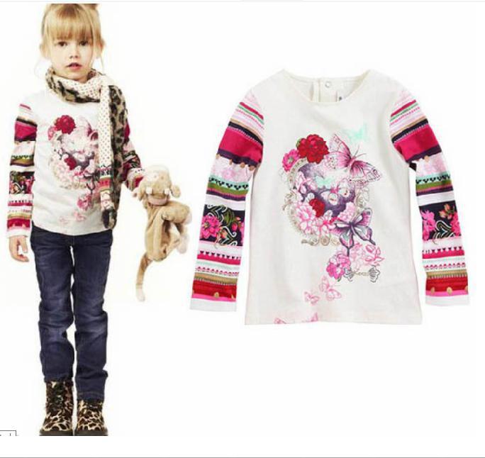 New Arrived ,Hott!! Girls T shirt Long-sleeve Children Brand Shirts Beautiful Flower and Butterfly Print Kids Tops Clothes 2013(China (Mainland))