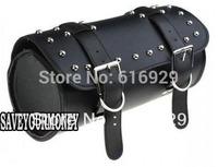 BLACK Motorcycle tool bag side box FORK BAG GEAR POUCH STUDS CRUISER CHOPPER BIKER tool kit for harley Davidson TRAVEL LUGGAGE