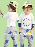 Autumn Korean version of star splice sleeve harem pants leisure suit children's clothing wholesale package  free shipping
