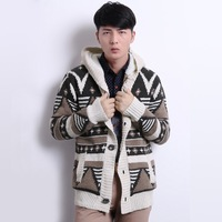 National Style Plus Velvet Thickening Mens Sweater Outerwear Warm Loose Knitted Geometry Pattern Male Wool Hooded Cardigan
