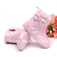 3pairs/lot Baby Girl PU Flat Fashion Boots With Butterfly-knot ,Baby Girl Winter Boots 2 Colors Beige Pink Free Shipping