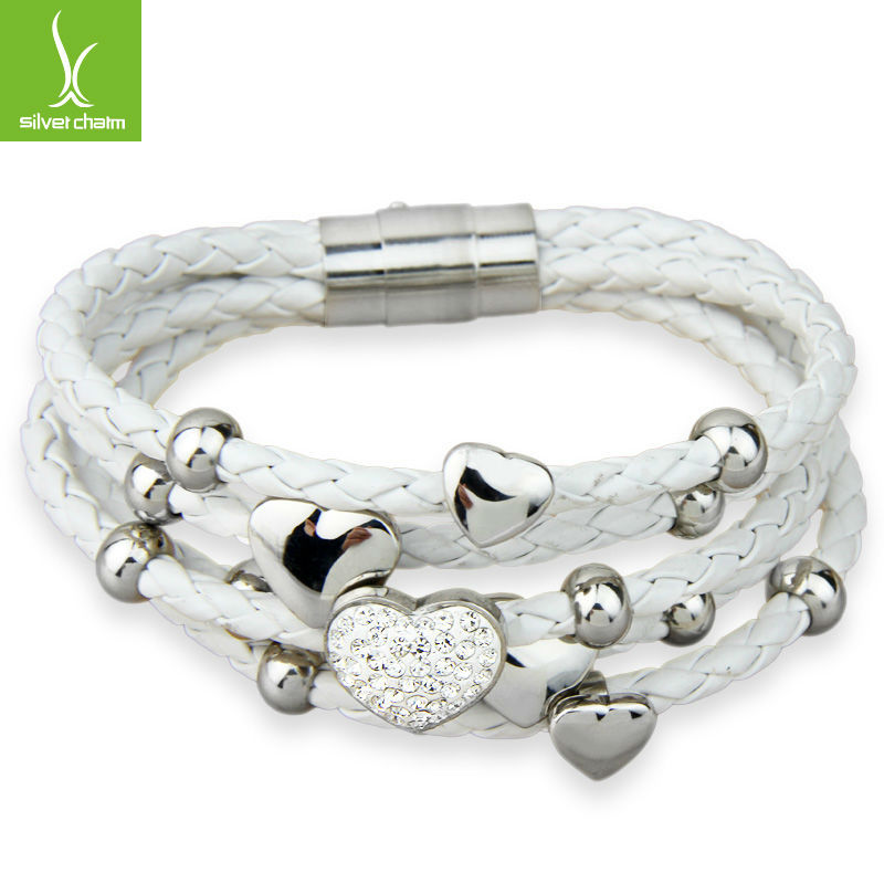 Alibaba Express Fashion Leather Wrap Heart Crystal Clasp Bracelet White for Women Stainless Steel High Quality Jewelry PI0694(China (Mainland))