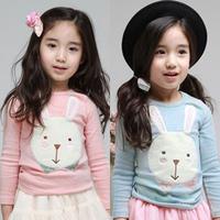 2013 autumn children's clothing rabbit fabric baby female child long-sleeve T-shirt 4899 basic shirt