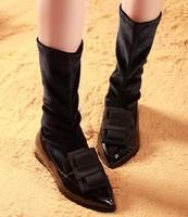 2013 small casual elastic boots medium-leg boots female shoes sheepskin boots martin