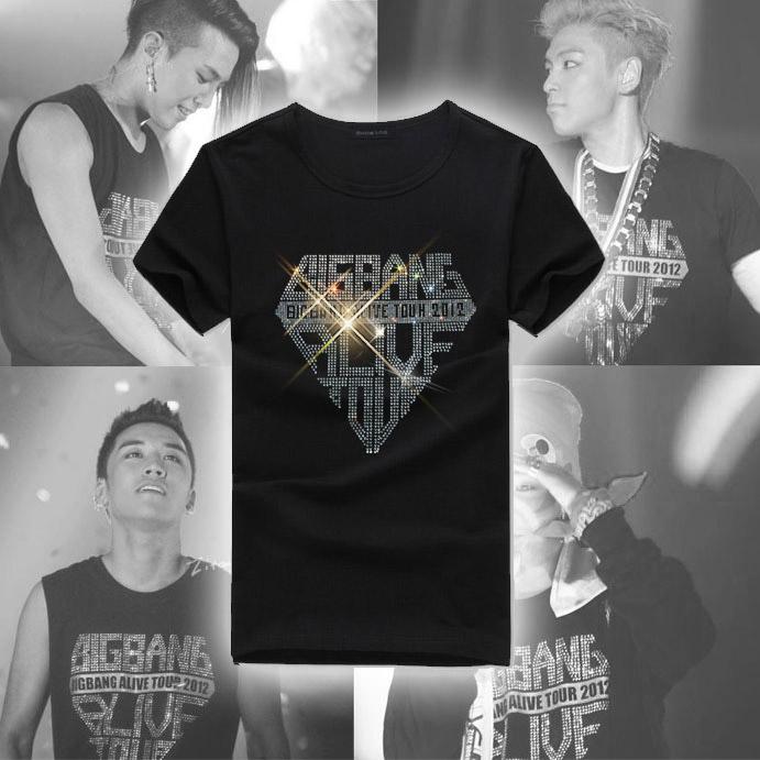 Rhinestones rhinestone czech diamond bigbang o-neck lovers design short-sleeve T-shirt tz004