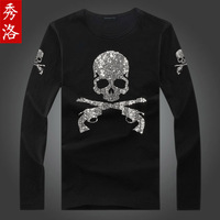 Spring rhinestones rhinestone double skull mastermind japan male Women long-sleeve T-shirt i54