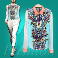 Fashion Transformers Robots Print Contrast Trim long sleeve Blouse Shirt Tops Free Shipping