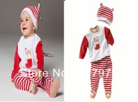 Christmas Set boys and girls children's clothing wholesale long-sleeved suit hat booties  free shipping