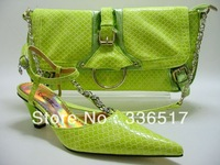 Free Shipping By DHL!!!New arrival fashion matching shoe and bag set Size38-43 1908  lemon green for retail and wholesale