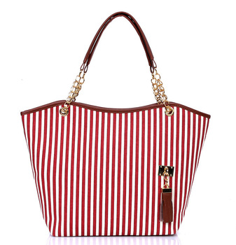 2013 chain stripe canvas shoulder bag manufacturer wholesale handbag fashion tassel's exports