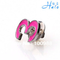 12PCS/Lot P700-019 Free Shipping hot pink enamel Arab No. 3 women collar pin wholesale rhinestone pins cheap