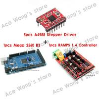 1pcs Mega 2560 R3 + 1pcs RAMPS 1.4 Controller + 5pcs A4988 Stepper Driver Module for 3D Printer kit Reprap MendelPrusa