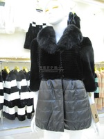 Medium rex rabbit full leather fox fur sheepskin down fur women's