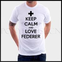 Free shipping TENNIS KEEP-CALM-AND-LOVE-FEDERER T-shirt cotton Lycra top Fashion Brand t shirt men new high quality