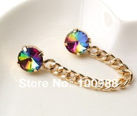 12PCS/Lot P700-025 Free Shipping fashion costume gold chunky chain glass crystal collar link chain pin clip for women