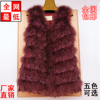 2013 autumn and winter plus cotton thermal ostrich wool vest medium-long turkey wool lace fur vest women's
