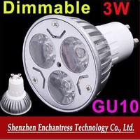 FreeShipping 10PCS/LOT Energy Saving 3W 220-240V GU10 Dimmable White/Warm White LED Lamp Bulb Spotlight LED Spot Light
