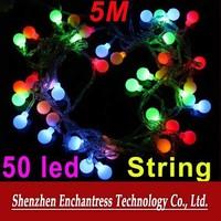 FreeShipping Energy EU Plug 220V RGB LED String 50 LED 5M Colorful Christmas Light /Decoration String Lights with DC Joint