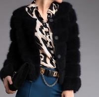 Elegant 2013 Women's Marten Velvet Cardigan Outerwear Short Design Mink Cashmere Sweater Genuine Fur Coat 5 Color Free Shipping