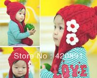 1PC Retail Wholesale Fashion Free Shipping Baby Girls Flower Winter Hats Cap Children's warm hat baby caps