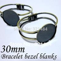 Free ship 100piece/lot Antique bronze brass cuff bracelet blanks w/ 30mm round pad bezels