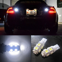 2x HID WHITE LED Bulbs 9-SMD Reverse Backup Lights Map 158 168 192 194 921 W5W