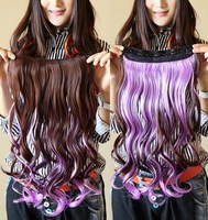 16'', 6 colors, 20pcs/lot, colorful synthetic fiber Wigs, clip in Hair Extensions, SP-095