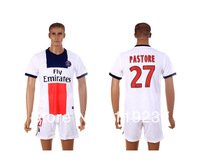 #27 PASTORE 13-14 Paris Saint Germain away white football jersey + shorts kits PSG soccer uniforms sport jerseys Embroidery logo